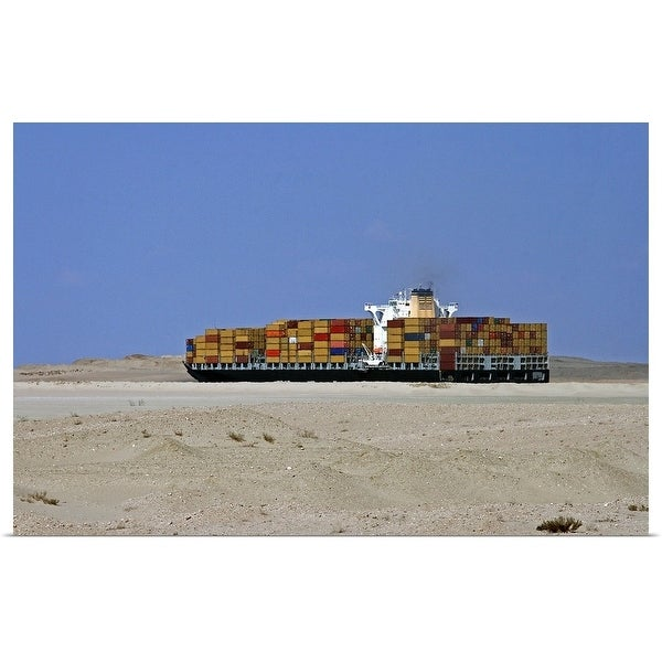 """""""Container ship in Suez Canal"""" Poster Print"""