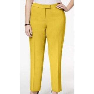 Anne Klein NEW Yellow Womens 24W Plus Stretch Straught-Leg Dress Pants