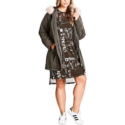 City Chic Womens Plus Pretty Girl Parka Coat Faux Fur Hooded - 20