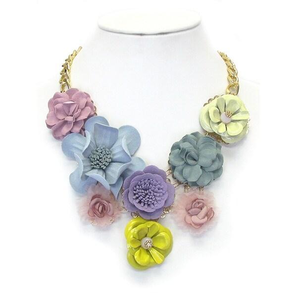 Multi Fabric Corsage Deco Bib Necklace