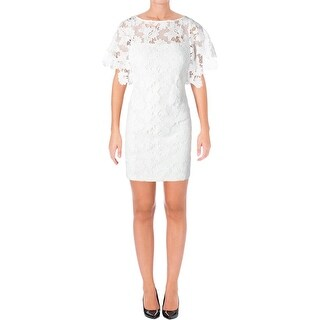 Lauren Ralph Lauren Womens Petites Verinetta Cocktail Dress Lace Overlay