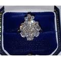 3.25TCW 18K European-cut VS Diamond Cluster One of a Kind Estate Ring 7 3/4 - Thumbnail 2