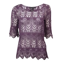 INC Women's Majestic Scalloped Crochet Scoop Neck Blouse - blackberry jam - xs