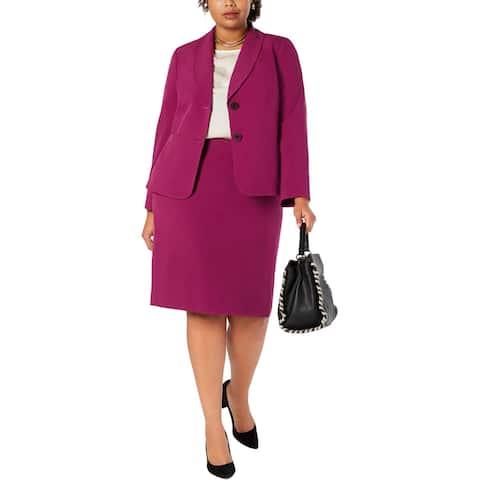 Le Suit Womens Plus Skirt Suit 2PC Business - Fuchsia - 20W
