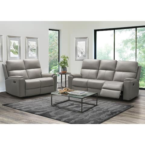 Abbyson Jackson Top Grain Leather Manual Reclining Sofa and Loveseat Set