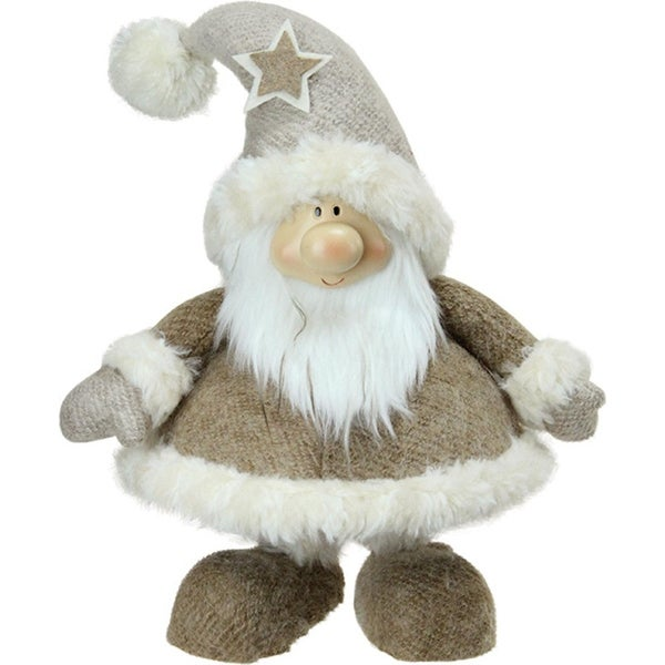 """14.5"""" Plush and Portly Champagne Bobble Action Gnome Christmas Tabletop Figure"""
