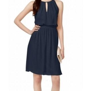 Adrianna Papell NEW  Navy Blue 4 Sheath Chiffon Keyhole Blouson Dress