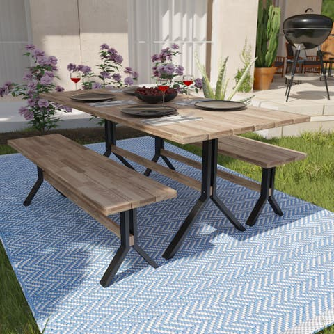 Contemporary Natural Wood Dining Set (Set of 3)