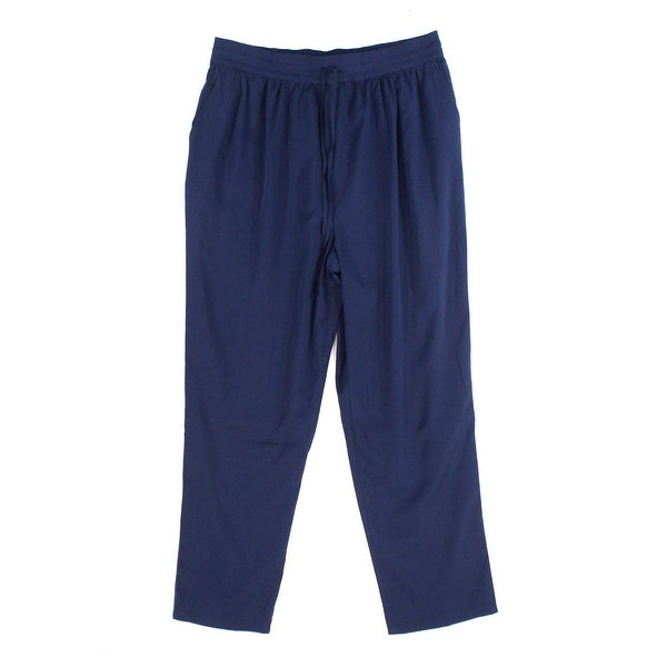 Abound Solid Navy Blue Women's Size Large L Pull-On Drawstring Pants