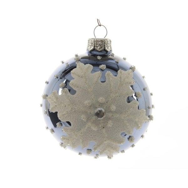 """Pack of 6 Winter Light Shiny Navy Blue Glass Ball Christmas Ornament with Glittered Snowflake 3.25"""""""