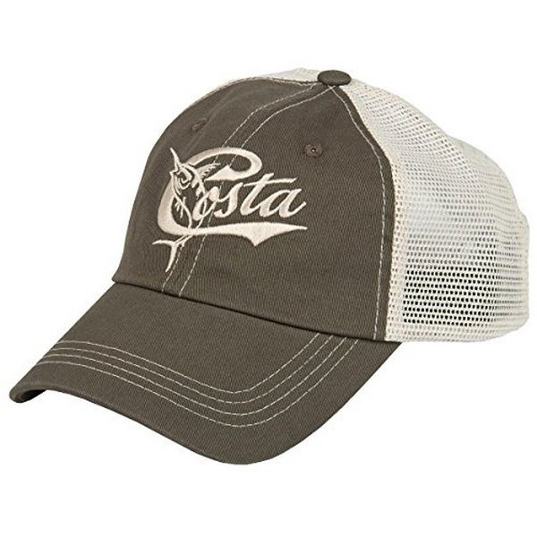 Costa Mens Retro Trucker Hat, Moss/Stone W/Snap Closure, Os