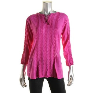 LRL Lauren Jeans Co. Womens Embroidered Crinkled Pullover Top - L