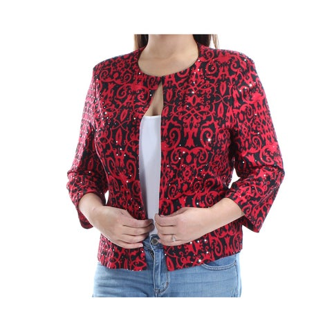 JESSICA HOWARD Womens Red Sequined Printed 3/4 Sleeve Open Top Size: 16
