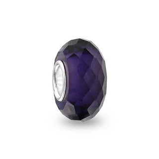 Bling Jewelry Purple Faceted Crystal Simulated Amethyst glass Charm Bead .925 Sterling silver