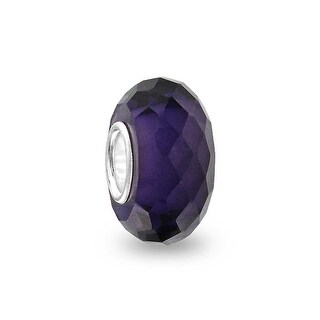 Bling Jewelry Purple Faceted Crystal Imitation Amethyst glass Charm Bead .925 Sterling silver
