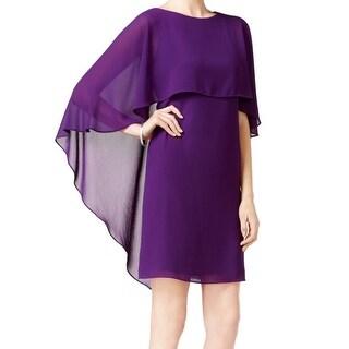 Vince Camuto NEW Purple Women's Size 8 Chiffon Capelet Sheath Dress