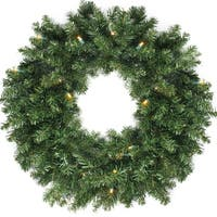 "24"" Canadian Pine Artificial Christmas Wreath - Warm Clear LED Lights - green"