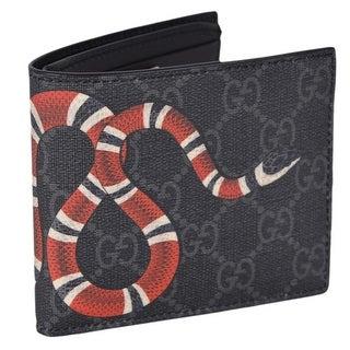 Gucci Men's Grey GG Supreme Canvas King Snake Bifold Wallet - M