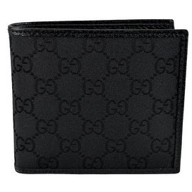 Gucci 143383 Men's Black Canvas GG Guccissima Short Bifold Wallet