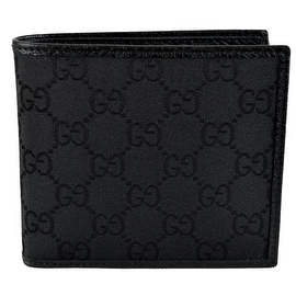 New Gucci 143383 Men's Black Canvas GG Guccissima Short Bifold Wallet