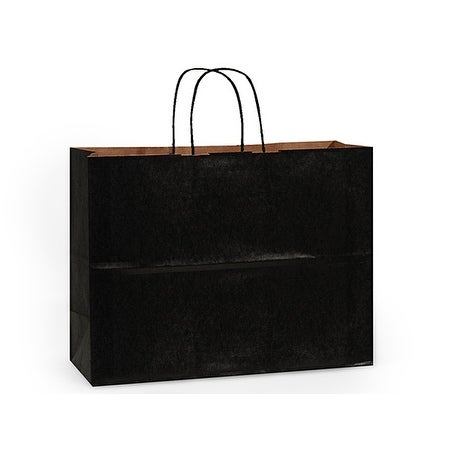 Shop Pack Of 25 Black Recycled Kraft Paper Shopping Bags W Edge
