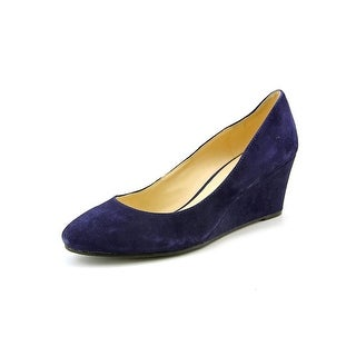 Nine West Ispy Women Open Toe Suede Blue Wedge Heel