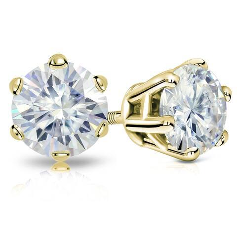 Auriya 4ctw Round Moissanite Stud Earrings 14k Gold - 8.2 mm