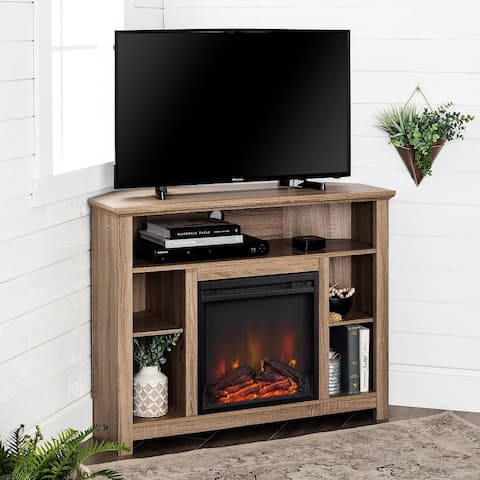 44-inch Driftwood Highboy Corner Fireplace TV Stand Console