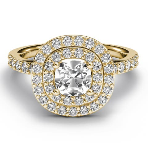 14KT Gold 1.75 CT Cushion Diamond Engagement Ring Double Halo