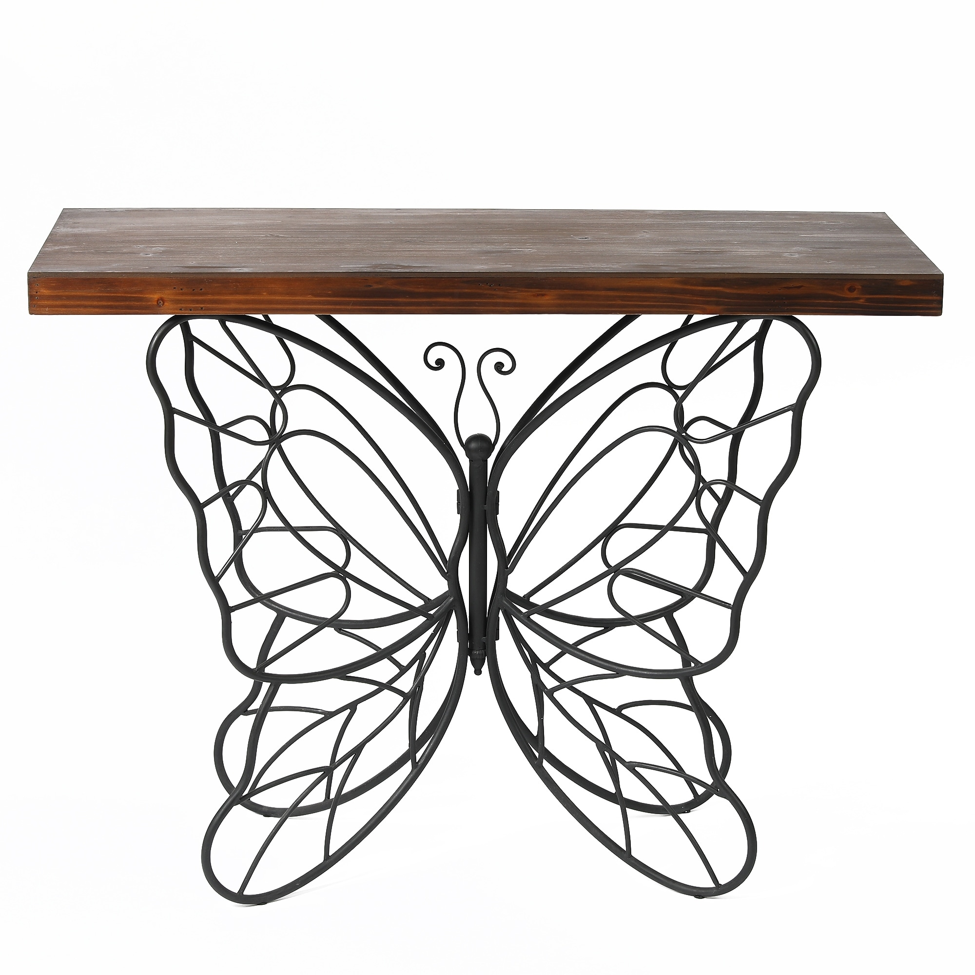 """Butterfly Black and Brown Metal and Wood Accent Table - 31.25"""" H x 40.75"""" W x 16"""" D. Opens flyout."""