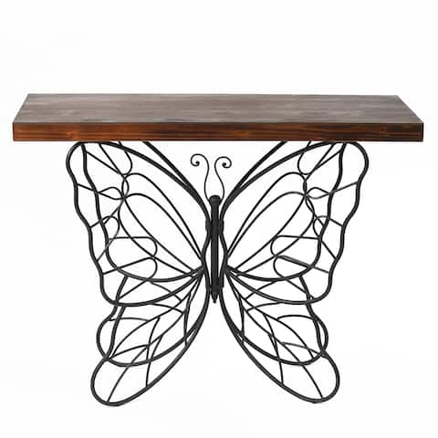 """Butterfly Black and Brown Metal and Wood Accent Table - 31.25"""" H x 40.75"""" W x 16"""" D"""