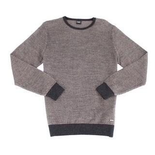 BUGATTI NEW Brown Mens Size Medium M Crewneck Wool Texture Sweater