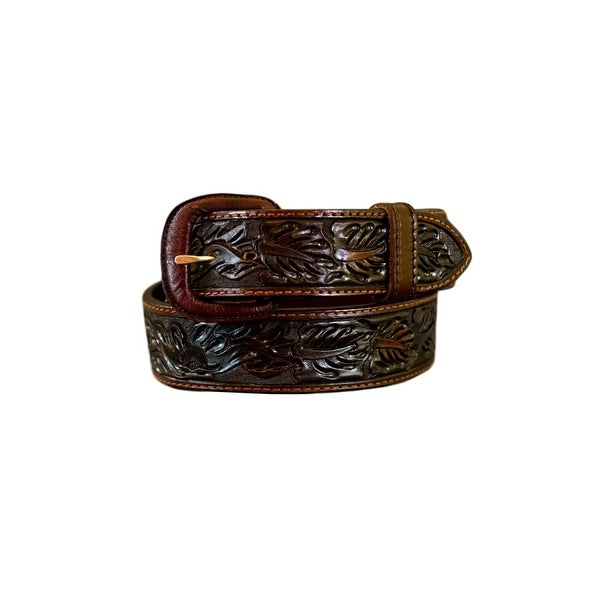 Vogt Silversmiths Western Belts Mens Floral Saddle Brown