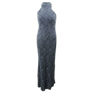 Link to Betsy & Adam Women's Glitter Lace Halter Gown - Steel Similar Items in Dresses