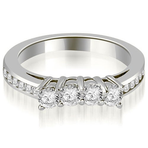 0.92 cttw. 14K White Gold Round Cut Diamond Wedding Band