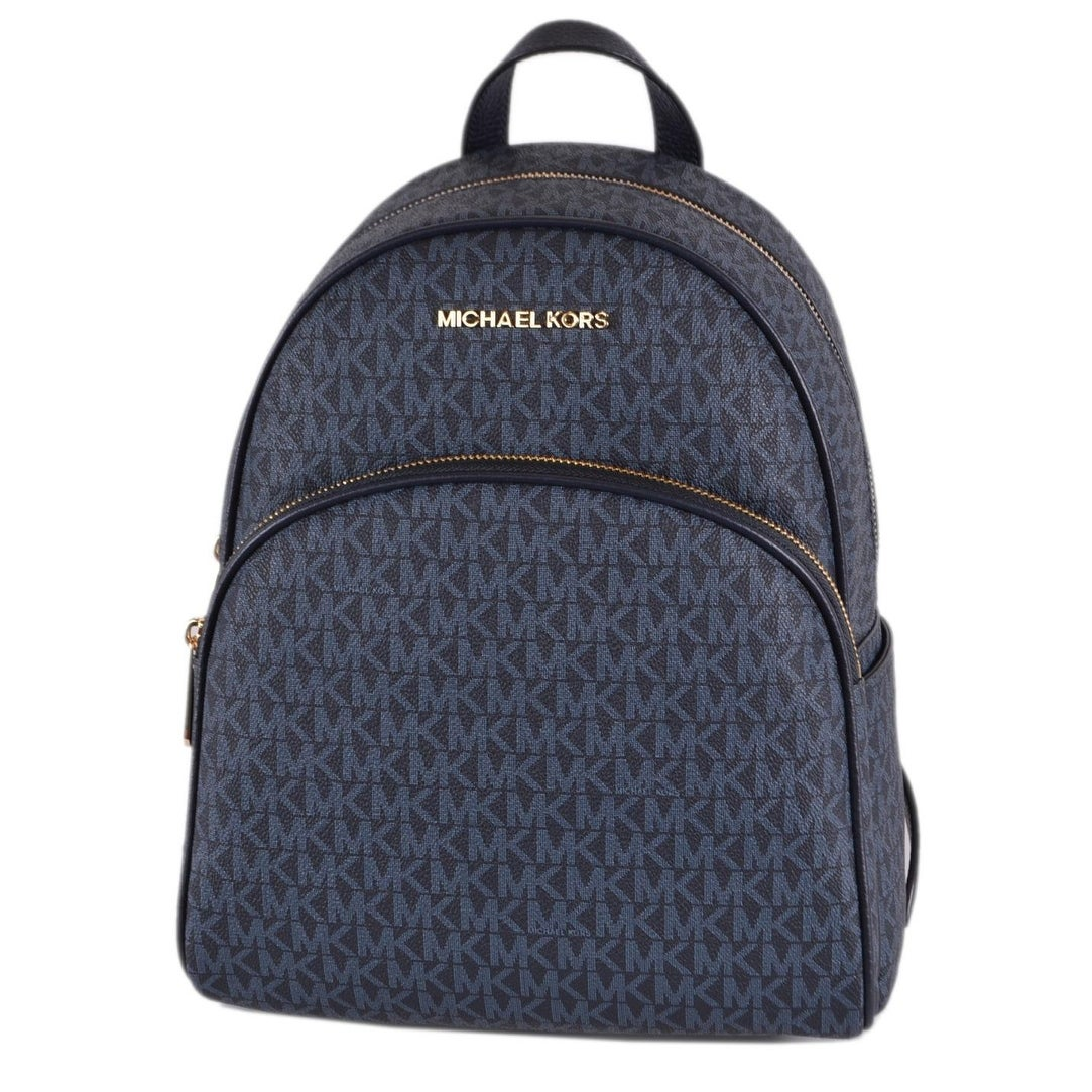 Michael Kors Admiral Blue Coated Canvas Signature Abbey Backpack Bag - 12 X 9 X 4.55