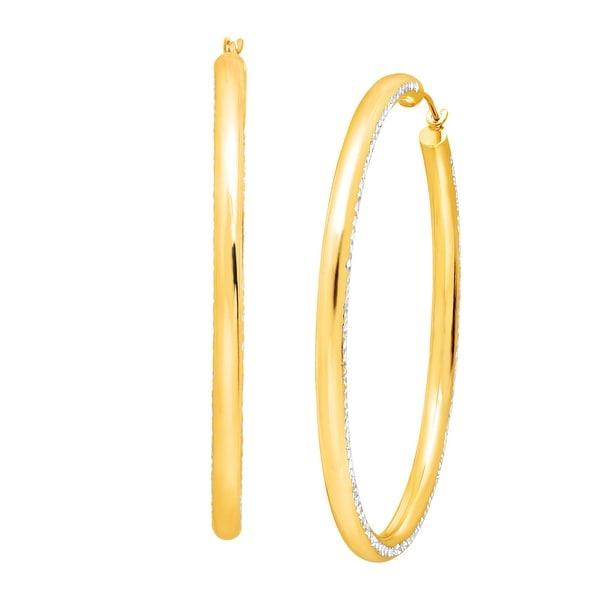 Diamond-Cut Hoop Earrings in 14K Gold-Bonded Sterling Silver