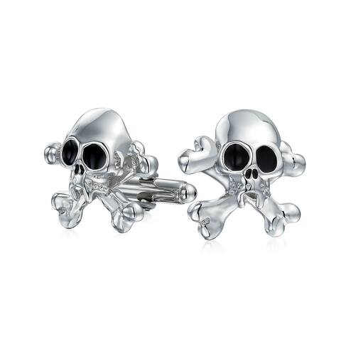 Caribbean Pirate Skull Crossbones Shirt Cufflinks Stainless Steel