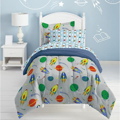 Dream Factory Space Rocket Twin 5-piece Bed in a Bag with Sheet Set
