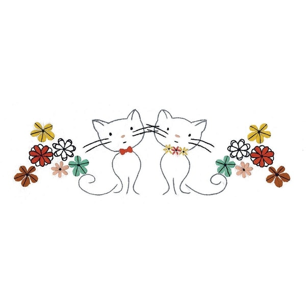 """Stamped Pillowcase Pair For Embroidery 20""""X30""""-Retro Cats"""