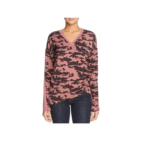 Kenneth Cole Womens Henley Top Mixed Media Printed