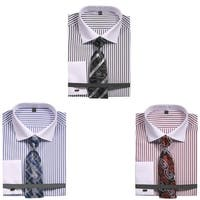 Men's Slim Fit Stripe Dress Shirt with French Cuffs and Tie