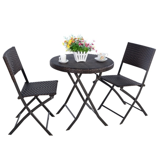 Delightful Costway 3PC Folding Round Table U0026 Chair Bistro Set Rattan Wicker Outdoor  Furniture   Free Shipping Today   Overstock.com   22667419