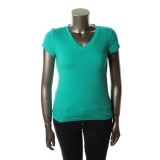 Grane Womens Juniors Short Sleeves V-Neck Pullover Top
