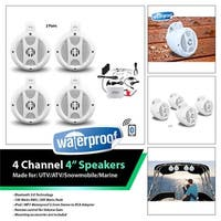 r  4-Channel Waterproof 4 in. Amplified Speaker System with Bluetoot