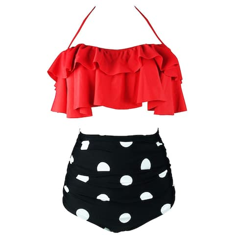 Cocoship Red Women's Size Medium M Bikini Polka-Dot Ruffle Swimwear