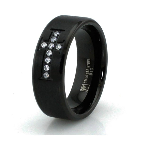 Black Satin Finish Stainless Steel Ring with Cubic Zirconia Cross