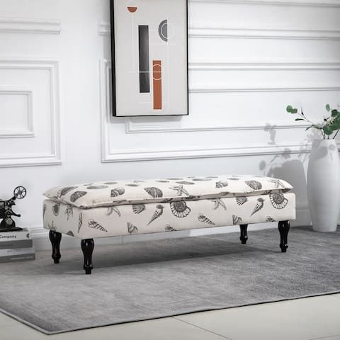 HOMCOM Linen-Touch Upholstered Fabric Ottoman Bench Bed Stool for Bedroom, Entryway, Living Room, Beige with Seashells