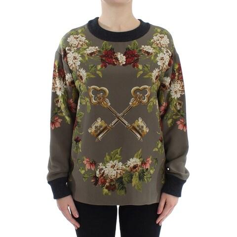 Dolce & Gabbana Dolce & Gabbana Green Key Floral Print Silk Sweater