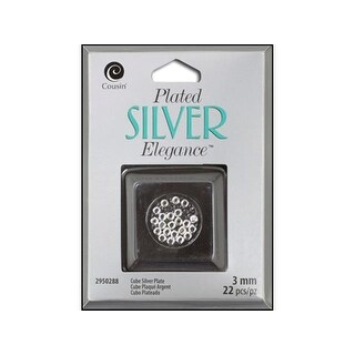 Cousin Silver Plate Elegance Bead Cube 3mm 22pc